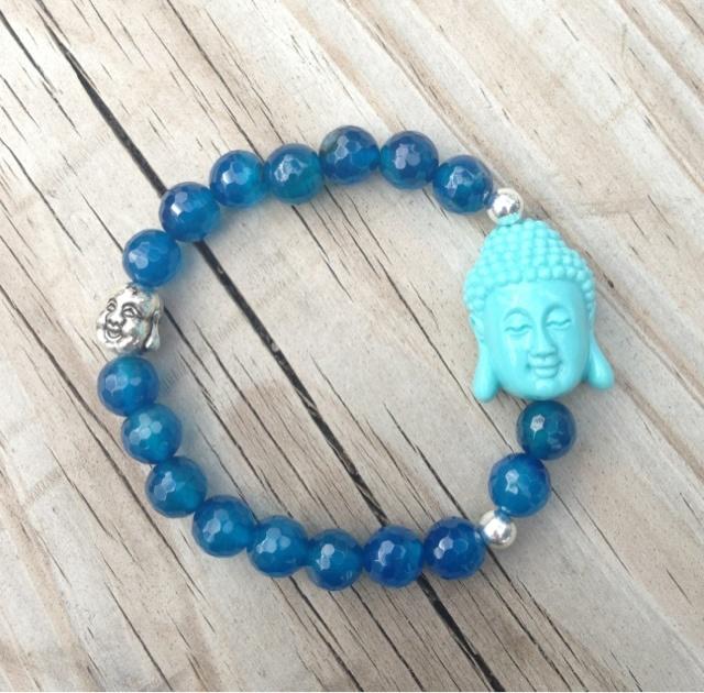 Perlas Azul- Buda Turquesa-Mini Buda Plateado, Perlas Rojo- Buda Turquesa,   Perlas Rojo- Buda Blanco