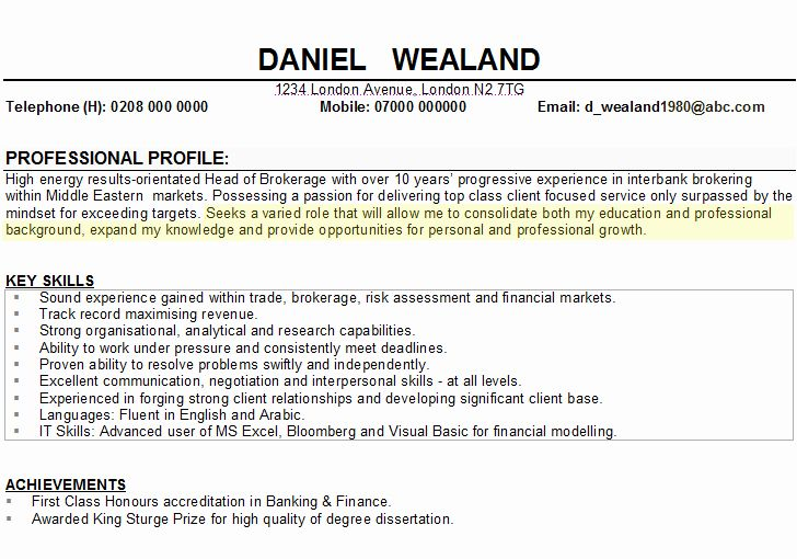 Professional Goal Statement Fresh Example Career Objective Cv Statem Resume Bba Personal