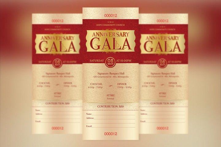 Anniversary Gala Ticket Template  By Godserv Designs