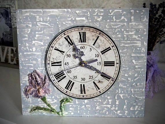 Grey Brick wall clock Farmhouse wall clock rustic Iris wall