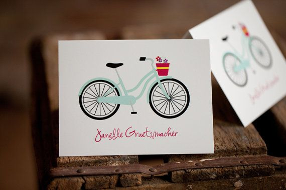 Bicycle Note Card Set Personalized by prettygirlshop on Etsy