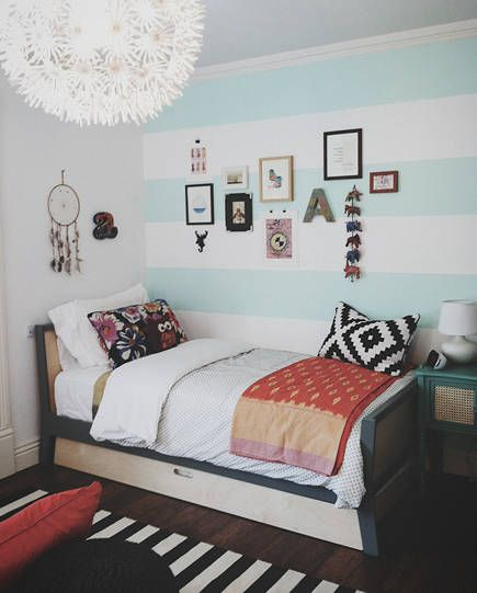 wide horizontal stripe painted bedroom walls, nursery to teen room design idea