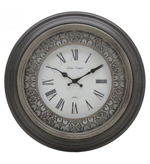 POLYRESIN WALL CLOCK IN ANTIQUE BROWN COLOR D50X5