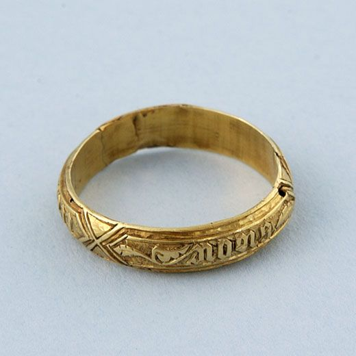 """Gold poesy ring...ca. 1450..Norman French inscription...""""HOLD FAST TRUE"""""""
