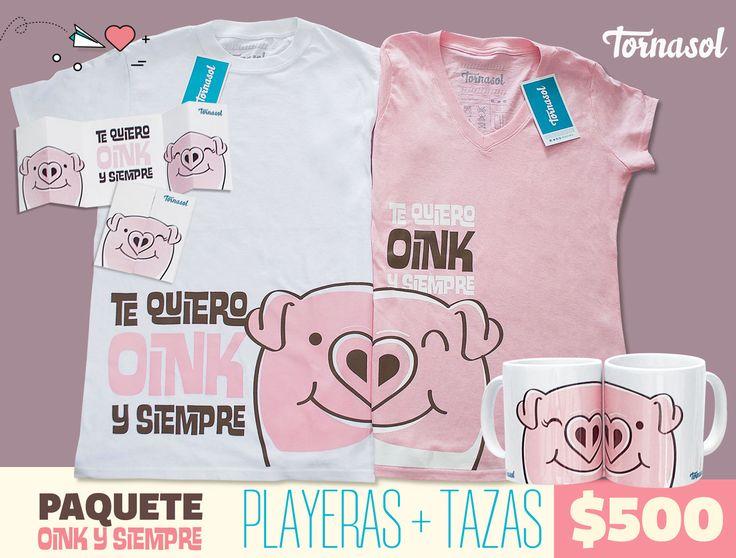 Este kit está creado para las parejas más divertidas, que les encanta reír a carcajada suelta, que buscan salir de lo cursi, pero sin perder ese detalle romántico. #pink #oink #pig #piggy #puerquito #amor #cute #parejas #tornasol #cafe #tazas #cup #couple #playeras #love #tshirt