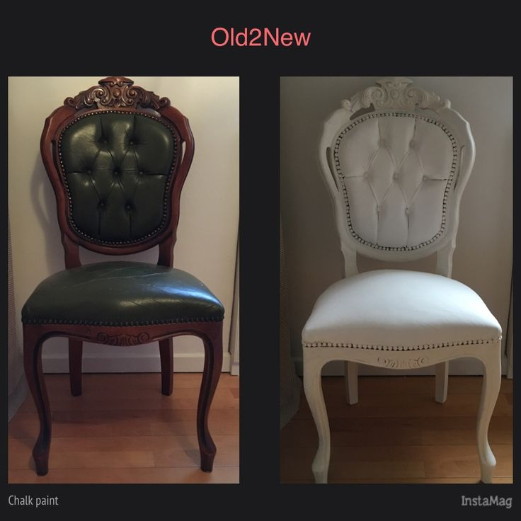 Leather chair painted with chalk paint