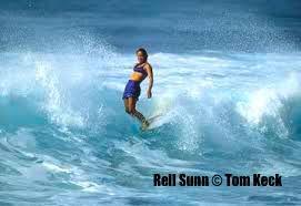 iconic photograph of Hawaiian surf legend Rell Kapolioka'ehukai Sunn, The Queen of Makaha, taken by the surf photographer Tom Keck