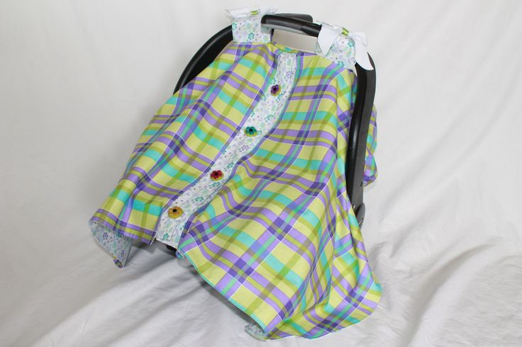 Canopy car seat cover with elastic back and magnetic front. Plaid. Baby car seat cover. Purple.  Green. Flowers. Velcro straps. canopy covers car seat covers baby baby shower girls plaid purple green seat covers covers cotton handmade 40.00 USD #goriani