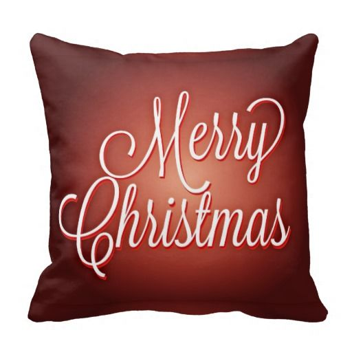 Merry Christmas Cursive on Maroon Background Pillows