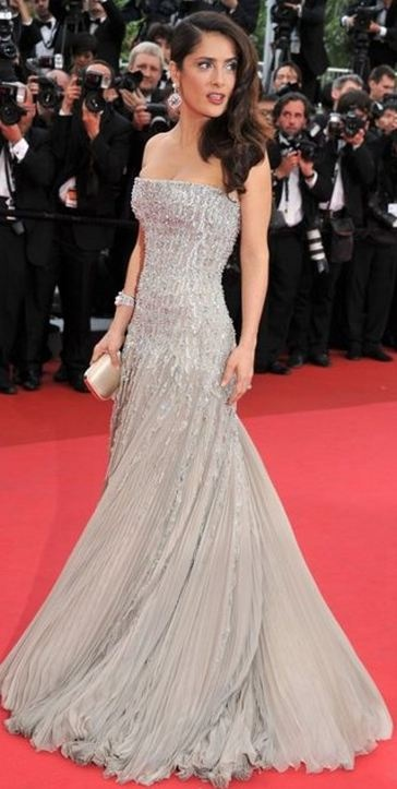 Salma Hayek Gorgeous Silver Couture Gown on Red Carpet