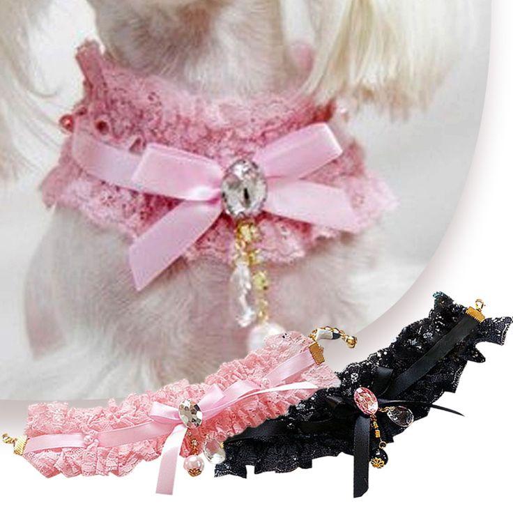 Nova moda Bowtie Lace pingente Pet coleira de cachorro do cão da fita da flor pérolas casamento colar(China (Mainland))