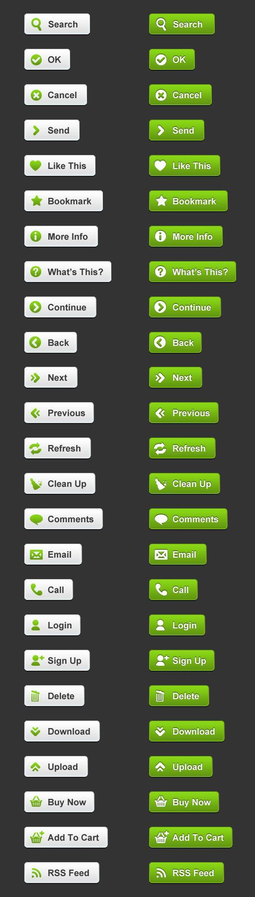 Web page buttons icons PSD