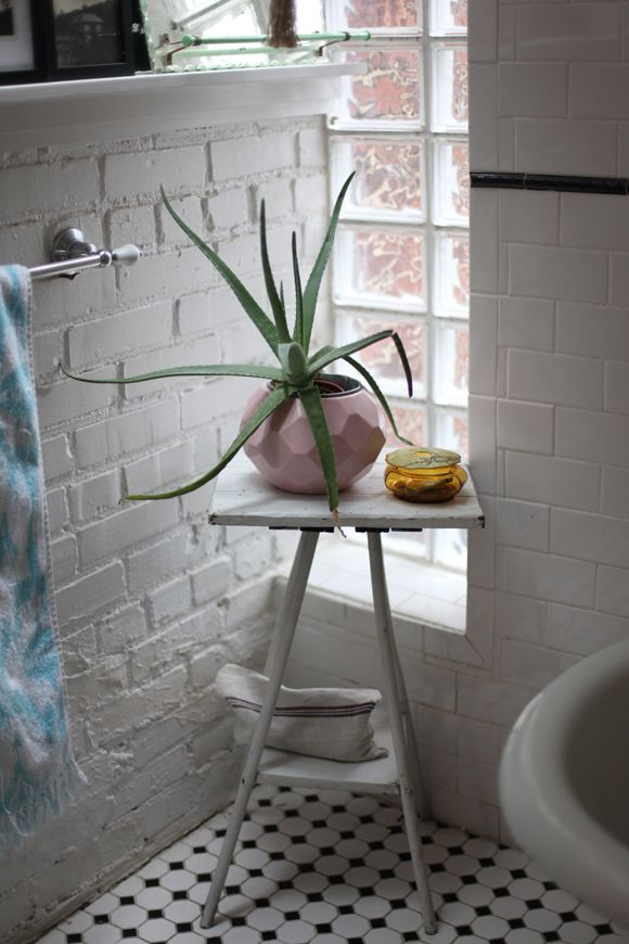 Mixing materials and eras. Victorian tile floor, wooden stool, metro tiles and brick wall, contemporary pot with aloe vera.