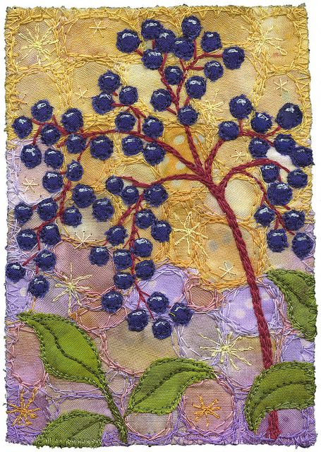 "Elderberries  3"" x 4 ¼""  9"" x 11"" framed  Blog:"