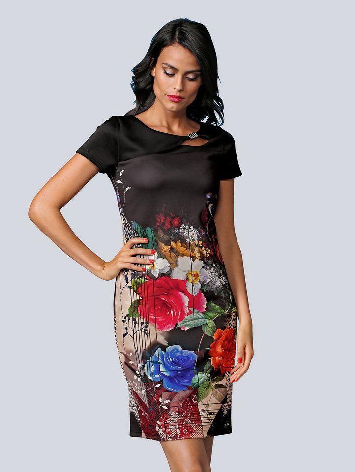 Alba Moda Druckkleid Kleid Mit Kontrastfarbenen Pipings Online Kaufen Otto Damen Kleider Festlich Kleider Kleider Damen