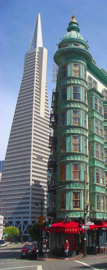 Two iconic San Francisco buildings, one from her past and the Trans America Pyramid that marked one of the new, modern buildings found in today's Cityscape. MMc: