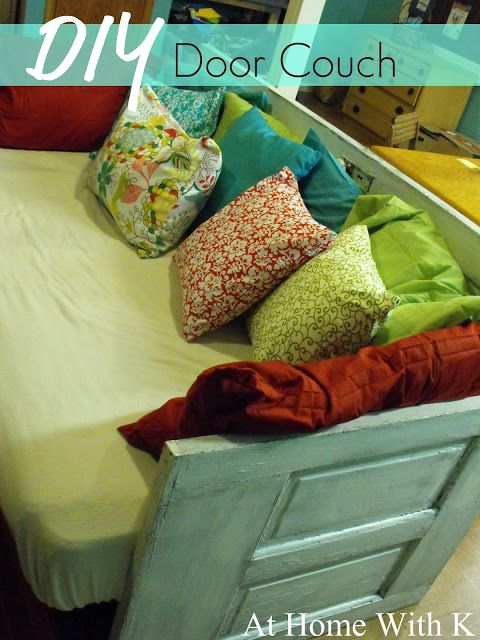 DIY: Couch made from an old door. Tutorial, info & lots of pics explaining how to build this couch.
