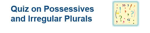 """This is an image from this resource on the Internet4Classrooms' """"Seventh Grade Language Skill Builders - Plurals"""" resource page:    Possessives and Irregular Plurals.    25 items in the quiz. Find the plurals of the words and capitalize an proper nouns. [This expired link is available through the Wayback Machine Internet Archive. If the page doesn't load quickly click on Impatient? at the bottom right of the page.]"""