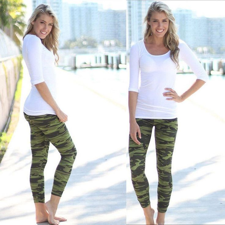 Fashion Camouflage Green Army Leggings