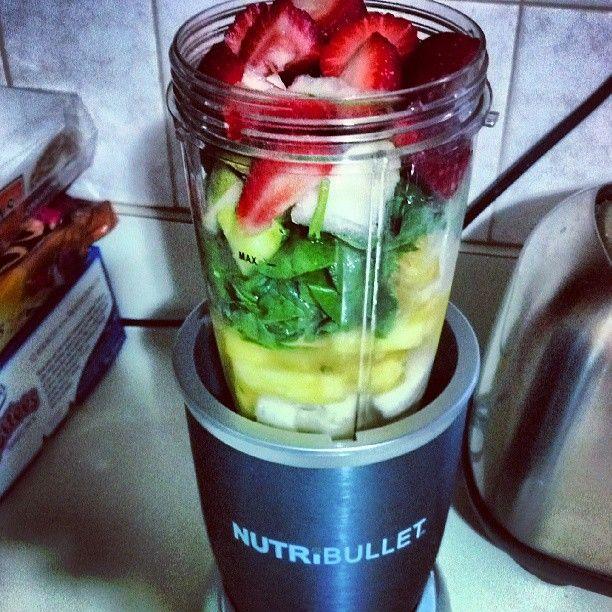 Strawberry, banana, spinach, pear, pineapple. #NutriBullet #breakfast #nutriblast