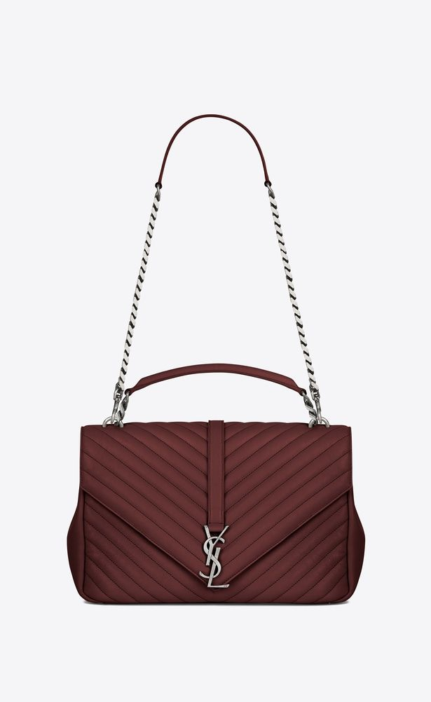 ad002715bd29 SAINT LAURENT Monogram College Woman large collège bag in dark red matelassé  leather a V4