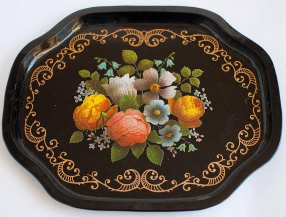 Vintage metal floral tray, OneLittleBirdShop on Etsy, £10.00
