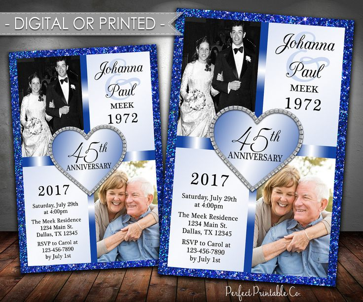 Wedding Anniversary Invitation, Wedding Anniversary Invite, Navy Blue, Sapphire, 45th, 40th, 50th, 60th, 70th, 80th, Digital or Printed #665 by PerfectPrintableCo on Etsy