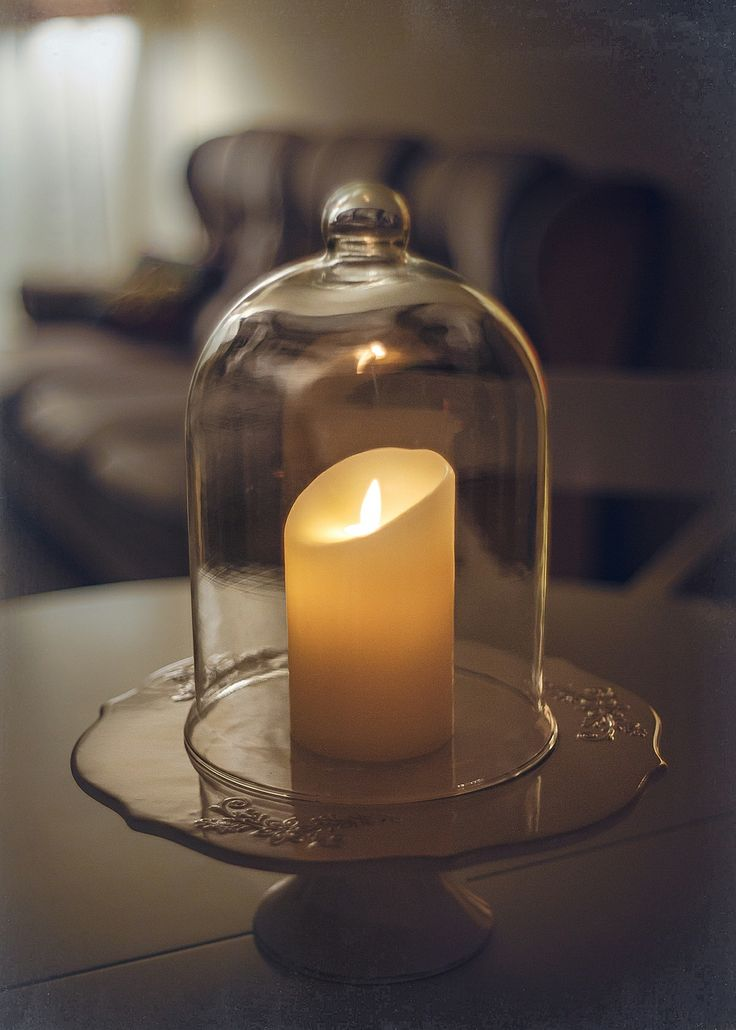 Luminara candles don't need oxygen to burn so they can be placed in a closed bell jar.
