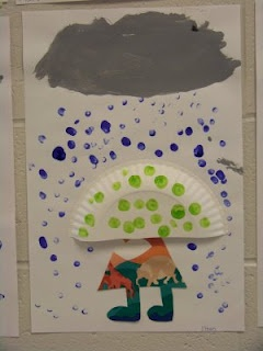 """rainy day april"" craft- finger prints for rain. paper plate half for umbrella, and paper scraps used for body."