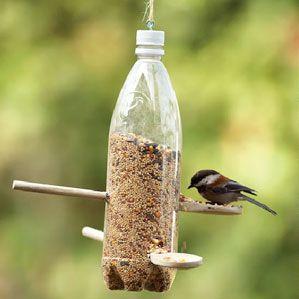 Van frisdrank fles naar voederstation. Een petfles tover je snel om in een vogelvoederhuisje met behulp van houten lepels. Maak een klein en een iets groter gat in de fles en steek er een lepel door, met de lepel bij het grotere gat. Vul de fles met vogelzaad en draai de dop er weer op.