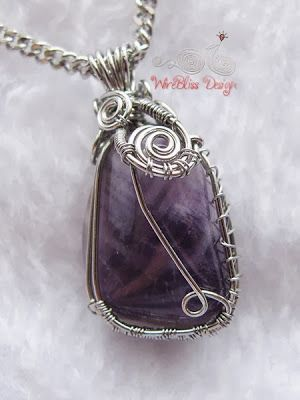 Wire Wrap Amethyst Pendant Top View by WireBliss
