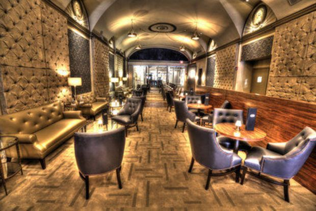 A view of Bin 216 Cleveland's lounge area. The wine bar is located in the space formerly occupied by Sammy's at Playhouse Square and Star restaurant, in what was once the lobby of the Ohio Theater. (Jay Kossman Digital Photography Services.)