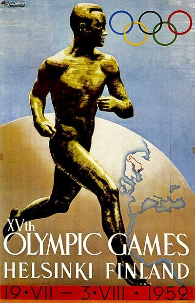 Paavo Nurmi,  9 x Olympic gold medalist(1920-28) in the Helsinki Olympic Games poster.