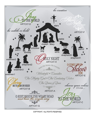 DIGITAL DOWNLOAD ... a beautiful, reverent and detailed add-on of 25 single and layered holiday wall words vinyl lettering vector art graphics ... perfect for door, window, glass, and wood block projects @ My Vinyl Designer (http://www.myvinyldesigner.com/Products/collection-two-addon-p7-1.aspx)                                                                                                                                                                                 More