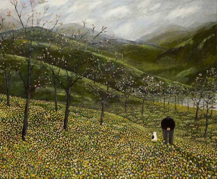 """Daffodils"" Gary Bunt Oil on canvas, 56 x 68 ins I wandered slowly with my dog We likes to roam o'er vales and hills When all at once we came across Loads of bloomin daffodils"