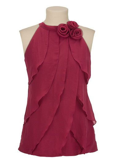 Rosette Mock Neck Tiered Tank