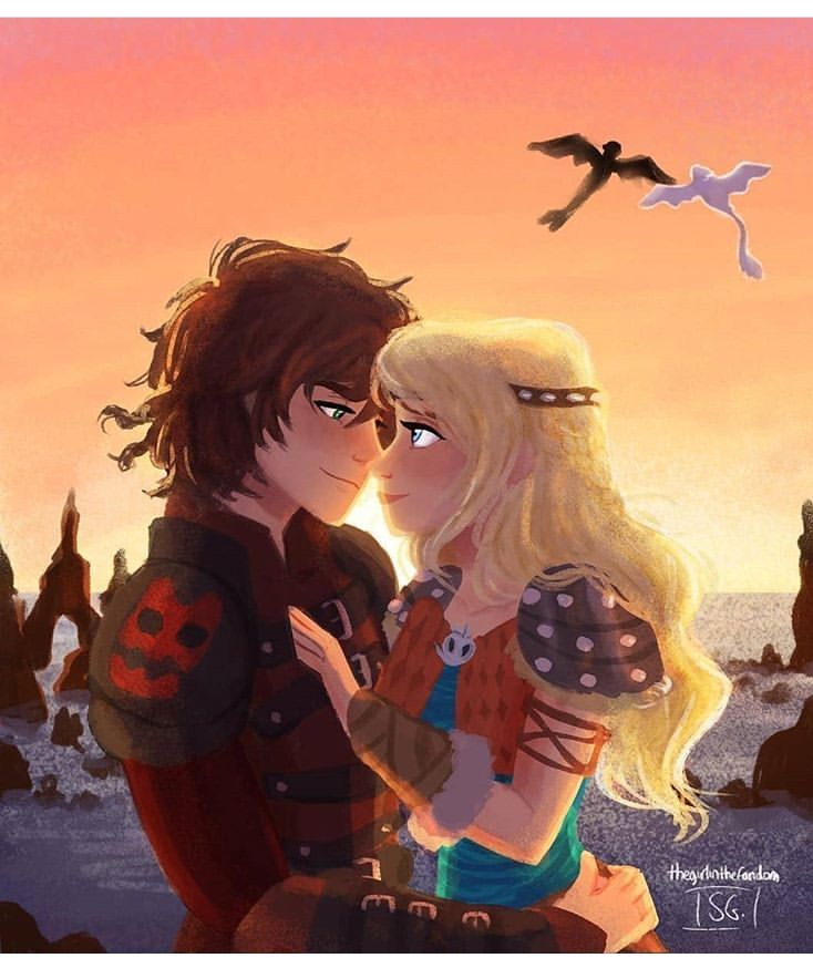 Hiccup And Astrid With Toothless And Light Fury In The Sunset How Train Your Dragon How To Train Your Dragon How To Train Dragon