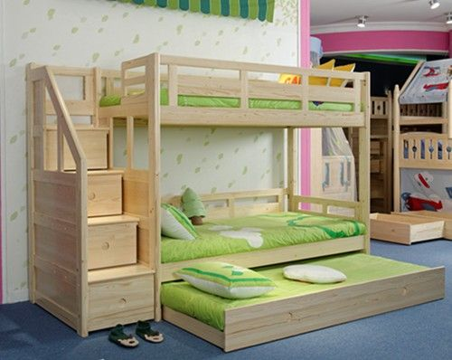Solid Wood Pine Staircase Bunk Beds with Guest Bed