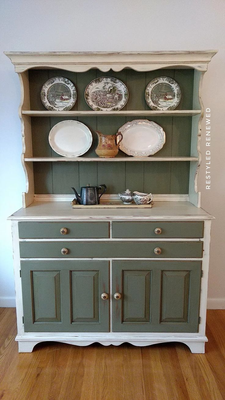 Cream and green hutch | Restyled Renewed | Chalk Paint | Chattanooga