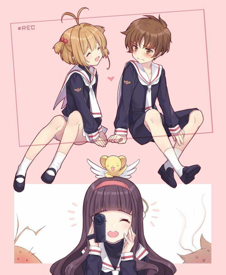 Tomoyo grabando los románticos momentos de sakura y Shaoran..... oww que bonito ❤️