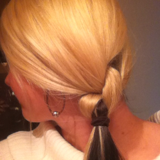Knotted my own hair! Split your hair in half tie it, tie it again and put a tie under the knot. Whala!!