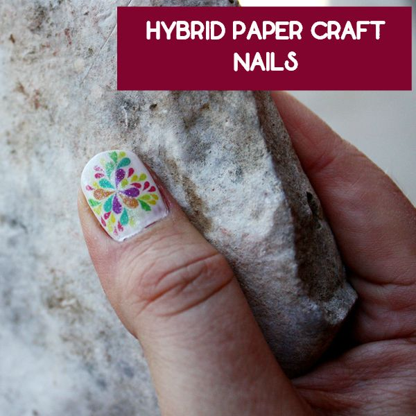 DIY printed craft paper nail art. How to use laser printed paper to create nail art. Using alcohol, the print is transferred to the  nail. Cheaper than buying wraps and allows for endless nail art designs. A hybrid paper craft beauty project!  #nails #nailart #hybridcraft #papercraft #beauty #manicure