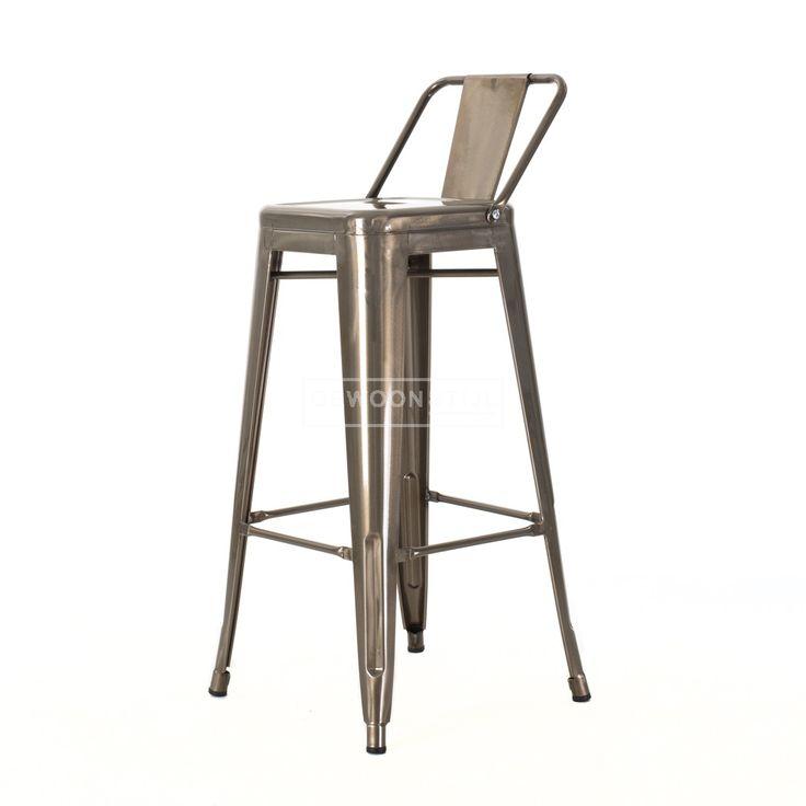 Legend | Café kruk met rugleuning | Metalen barkrukken | Tolix style Café kruk | Industrieel design Xavier Pauchard | Industrieel metaal