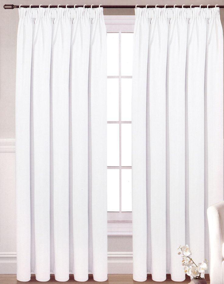 Blackout Curtains White Pencil Pleat Ready Made Choice Of Sizes Ebay