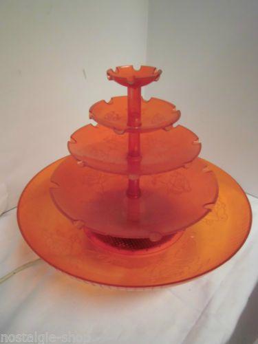 70er-Jahre-Tischbrunnen-Springbrunnen-Zierbrunnen-orange-Kunststoff-Vintage-70s