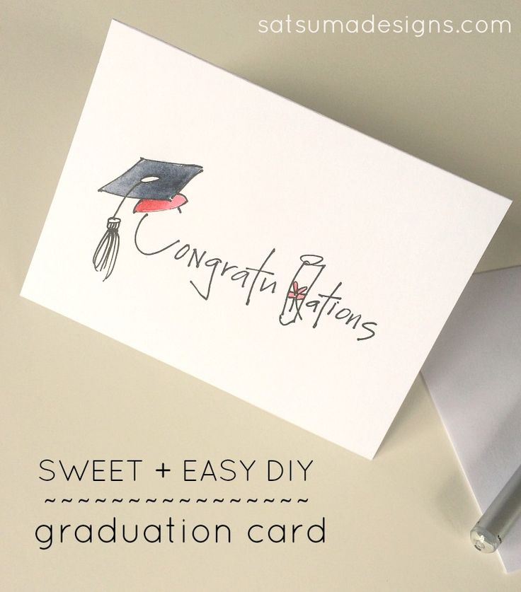 DIY Graduation Card. Save your pennies for the check you'll enclose and make this easy, thoughtful card with pen and watercolors.