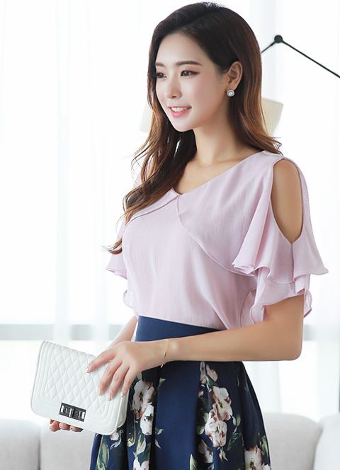Ruffle Sleeve Cold Shoulder Blouse Styleonme