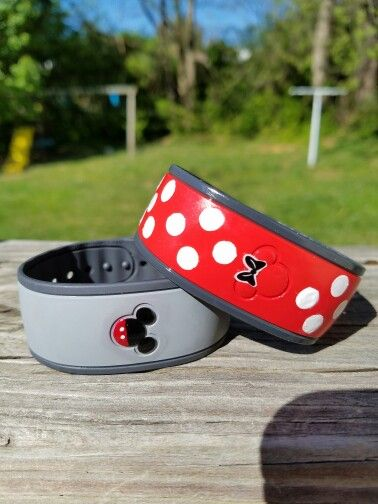 Disney Magic bands painted with nail polish with Modge Podge over coat to protect