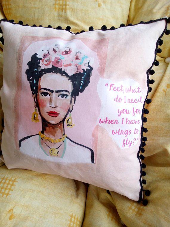 Frida Kahlo pillow canvas cover handmade photo transfer frida