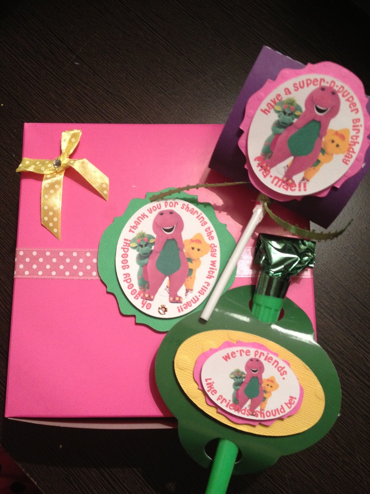 Barney Party ~ Decorations ~Invitations pouch and Lollipop cover and Noisemaker cover
